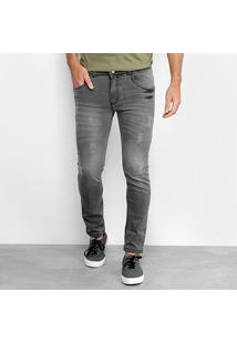 Calça Jeans Skinny Coffee Skinny Destroyed Masculina - Masculino-Preto