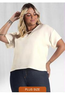 Blusa Plus Size Genebra Secret Glam Bege