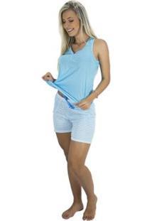 Pijama Curto Blusa E Short Mvb Modas Feminino - Feminino-Azul