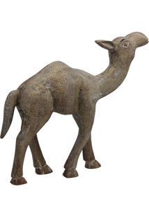 Estatua Camelo- Pashmina- Madeira- Marrom