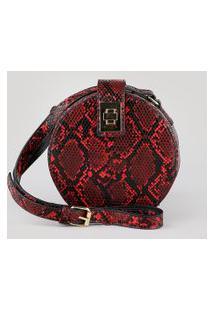Bolsa Feminina Transversal Pequena Redonda Texturizada Estampada Animal Print Cobra Vermelha