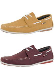 Kit Dockside Cr Shoes Lançamento Bordô E Amarelo