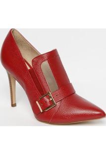 Ankle Boot Em Couro Com Recorte Em Tela- Vermelha- Sjorge Bischoff