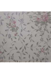 Papel De Parede Lavável Floral Com Rosas E Folhas Prateada Fwb