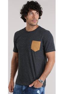 Camiseta Com Bolso Contrastante Cinza Mescla Escuro