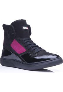9b41f01f8ba Tênis Rockfit Scorpions Em Couro Preto E Pink
