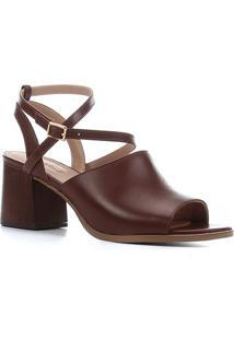 Sandália Couro Shoestock Salto Bloco Madeira Feminina - Feminino-Marrom