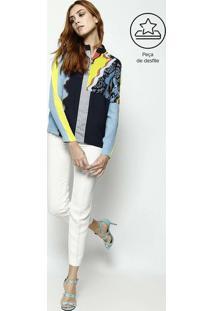 Blusa Em Seda Com Bordado - Azul & Amarelaversace