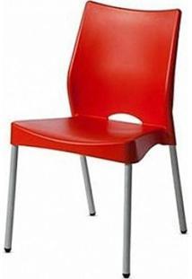 Cadeira Malba Base Fixa Pintada Cinza Cor Vermelho - 10309 - Sun House
