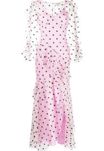 Temperley London Vestido Com Bordado E Tule - Rosa