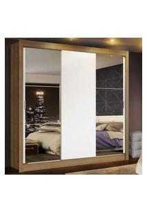 Guarda Roupa Casal Madesa Mônaco 3 Portas De Correr Com Espelhos Rustic