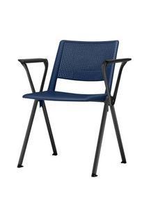 Cadeira Up Com Bracos Assento Azul Base Fixa Preta - 54309 Azul