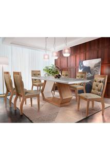 Conjunto De Mesa De Jantar Alvorada Com 6 Cadeiras Estofadas Tamara I Animalle Off White E Chocolate