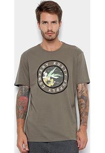 Camiseta Rusty Silk Trade Masculina - Masculino-Verde Escuro