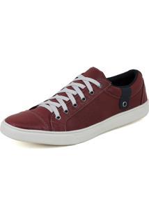 Sapatênis Casual Couro Magi Shoes Moderno Perfuros Vermelho