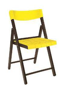 Cadeira Potenza De Madeira Tauarí Cor Tabaco E Plástico Amarelo Dobráveis Fold - Tramontina