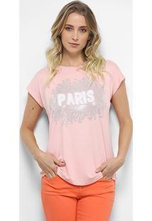 Camiseta Facinelli Paris Pelúcia Feminina - Feminino-Rosa