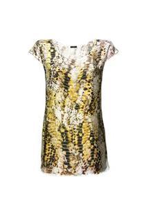 Blusa Tunica 101 Resort Wear Saida Cetim Estampado Serpente Dourada