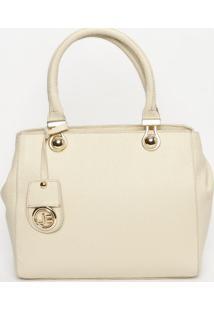 Bolsa Em Couro Com Bag Charm- Off White- 25X30X10Cmjorge Bischoff