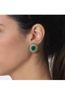 Brinco Rosa Pinhal Cristal Verde Esmeralda E Zircônias B. Ouro 18K