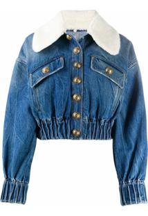 Balmain Shearling Collar Denim Jacket - Azul