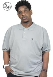 Camisa Polo Plus Size Bigshirts Listrada Cinza/Branca