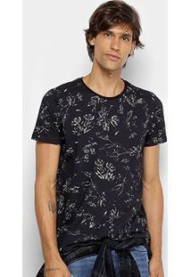 Camiseta Colcci Estampada Floral Masculina - Masculino-Preto+Branco