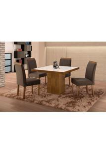 Conjunto De Mesa De Jantar Com 4 Cadeiras E Tampo De Madeira Maciça Arezo I Suede Castanho E Grafite
