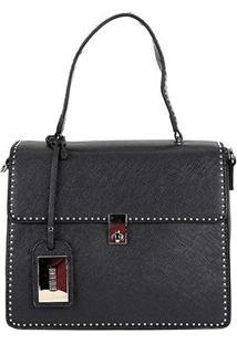 Bolsa Santa Lolla Flap Com Textura Feminina - Feminino-Preto