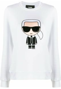 Karl Lagerfeld Blusa Mangas Longas Com Estampa Karl - Branco