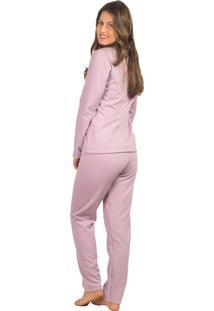 Pijama Flanelado Vip Lingerie Feminino Longo Roxo - Tricae