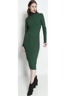 Vestido MãDi Canelado Com Recortes - Verde - Forumforum