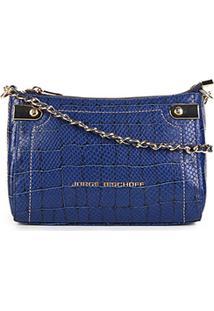 Bolsa Jorge Bischoff Transversal Animal Print Snake Com Corrente - Feminino-Azul
