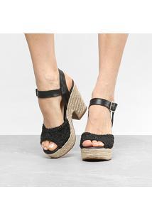 Sandália Anabela Shoestock Bordado Feminina - Feminino-Preto