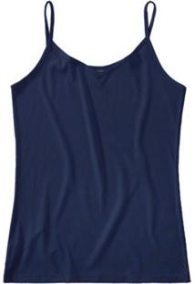 Blusa Azul Escuro Canelada Decote V Malwee