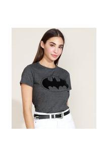 Blusa Feminina Batman Manga Curta Decote Redondo Chumbo