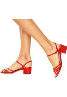 Sandália Dumond Envernizada Vermelha