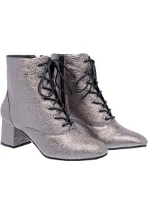 Ankle Boot Metalizada Com Salto Baixo Andarezzy Feminino - Feminino-Prata