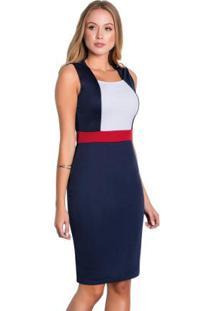 Vestido Tubinho Tricolor Moda Evangélica