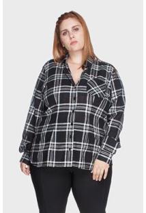 Camisa Bold Xadrez 100% Algodão Plus Size Feminina - Feminino-Preto
