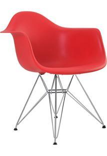 Cadeira Eiffel Com Braço Vermelha E Base Cromada