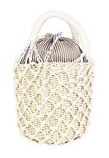 Bolsa Shoestock Bucket Crochê Palha Pequena Feminina - Feminino-Bege