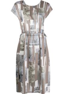 Peserico Vestido Midi Com Estampa De Estátua - Neutro