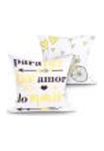 Kit Capa Almofada Decorativa Amarela Frase Kit Com 2 Unidades 45Cm X 45Cm Com Zíper