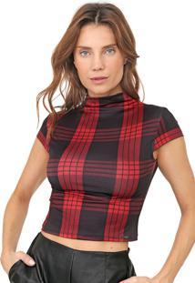 Blusa Cropped Dimy Xadrez Vermelha/Preta