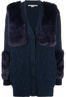 Stella Mccartney Faux Fur-Trimmed Cardigan - Azul