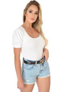 Body Livora Gola Princesa Tricot Modal Feminino - Feminino-Branco