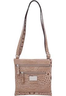 Bolsa Couro Transversal Croco Smartbag - 70193.16 - Feminino-Bege