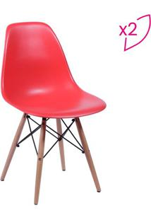 Jogo De Cadeiras Eames Dkr- Vermelho & Madeira- 2Pçsor Design