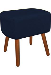 Puff Decorativo Agatha Curvo Suede Azul Marinho - D'Rossi
